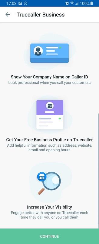 truecaller business profile