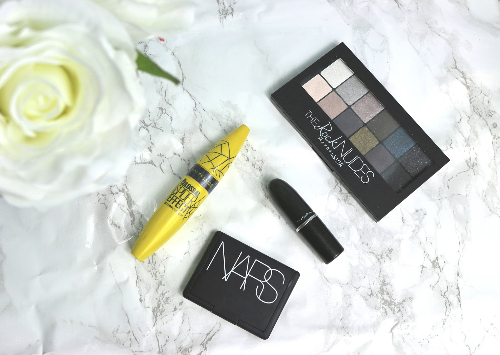 October Favourites NARS Sin Blush, MAC Diva Lipstick, Maybelline Colossal Spider Effect Mascara and Maybelline The Rock Nudes Palette