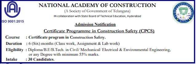 NATIONAL ACADEMY OF CONSTRUCTION-Certificate program in Construction Safety Admission Notification @ nac.edu.in