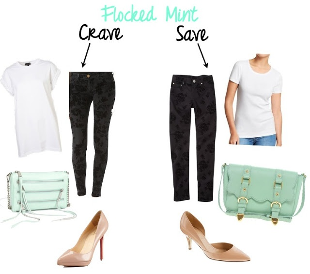 flocked denim mint handbags nude pumps white tee