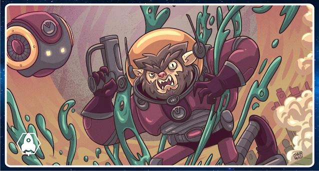 Desenho colorido em tom cartunesco e de proporções irreais. Ao centro, um lobisomem com roupa futurista de astronauta, cor vinho com detalhes cinzas, e com um globo de vidro ao redor da cabeça. O lobisomem tem os olhos bem espaçados, cabelinho emendando com a barba meio Wolverine, cara de nervoso e olhos claramente irados. Em meio a uma fumaça que se dispersa, Lobonauta está segurando uma pistola a laser apontada para cima e pisando em uma gosma verde que espirra para todos os lados. À sua esquerda tem um robozinho da mesma cor do seu uniforme, redondinho, e com dois olhos de LED amarelos. Ao fundo bem distante está uma cidade alienígena, com prédios futuristas e um IMENSO planeta arroxeado no céu. Esse planeta possui duas luas azuladas, mais ou menos nas cores do planeta Terra.