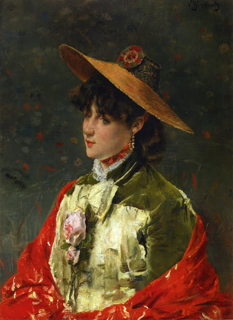 Alfred Stevens - Woman in a Straw Hat