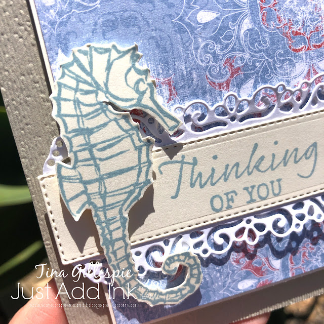 scissorspapercard, Stampin' Up!, Just Add Ink, Seaside Notions, Subtle 3DEF, Ornate Layers Dies, Woven Threads DSP