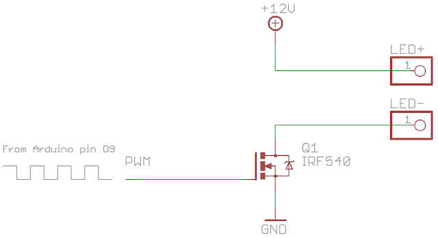 LED Fading WIth a MOSFET and a Voltage Converter