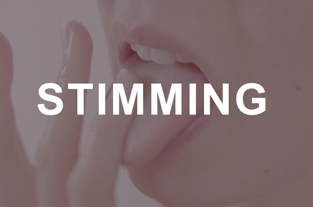 Close up of the artists' mouth with their tongue out. They are licking their finger. Overlapping the image is the word stimming in capitals.