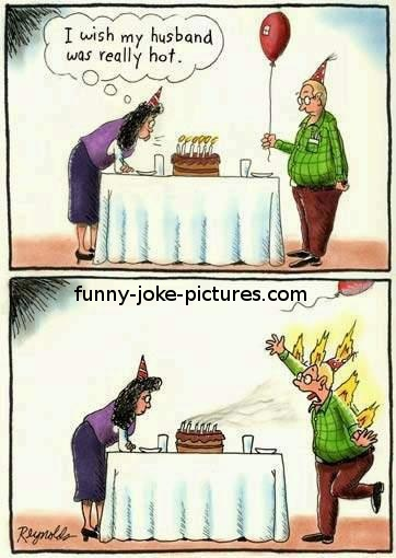 Funny Husband Really Hot Birthday Wish Cartoon Picture