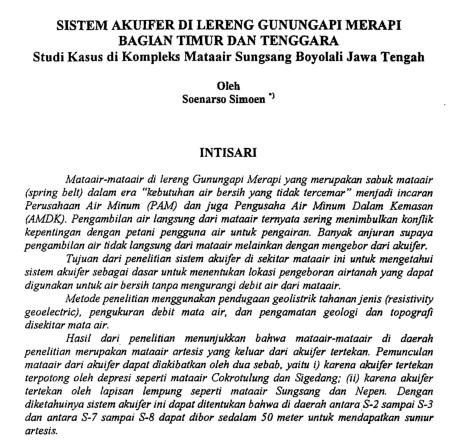Sistem Akuifer Di Lereng Gunungapi Merapi Bagian Timur dan Tenggara [PAPER]