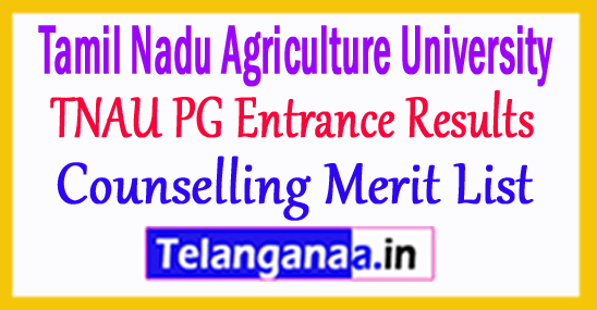 TNAU PG Entrance Results 20178Counselling Merit List