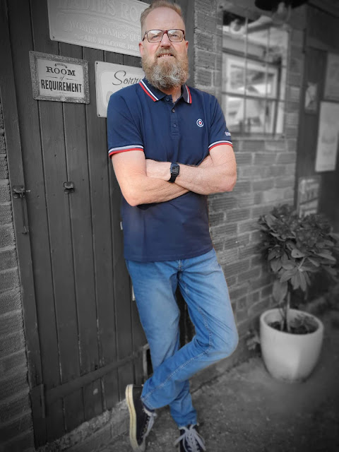 Bearded Man modelling Lambretta Tipping Polo shirt from Jacamo