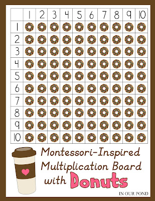 Montessori-Inspired Multiplication Board with Donuts // In Our Pond // free printable // math practice // multiplication // elementary school // national donut day // doughnut math // homeschooling
