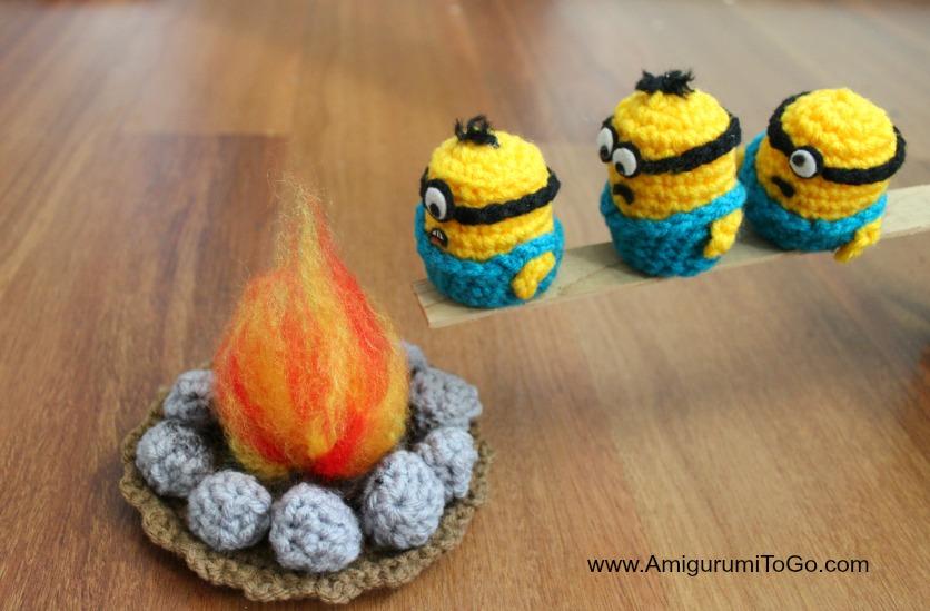Free Amigurumi Minion : Minion marshmallow roast ~ amigurumi to go