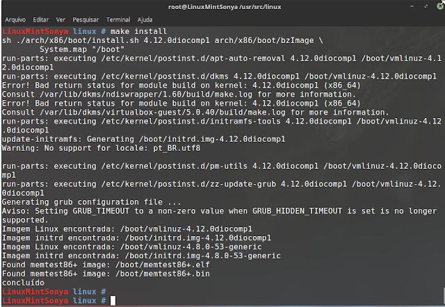instalando o novo kernel