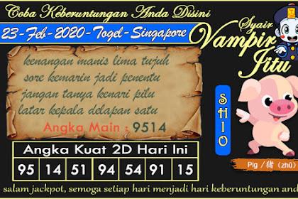 Syair Vampir Jitu Togel SGP Minggu 23 Februari 2020