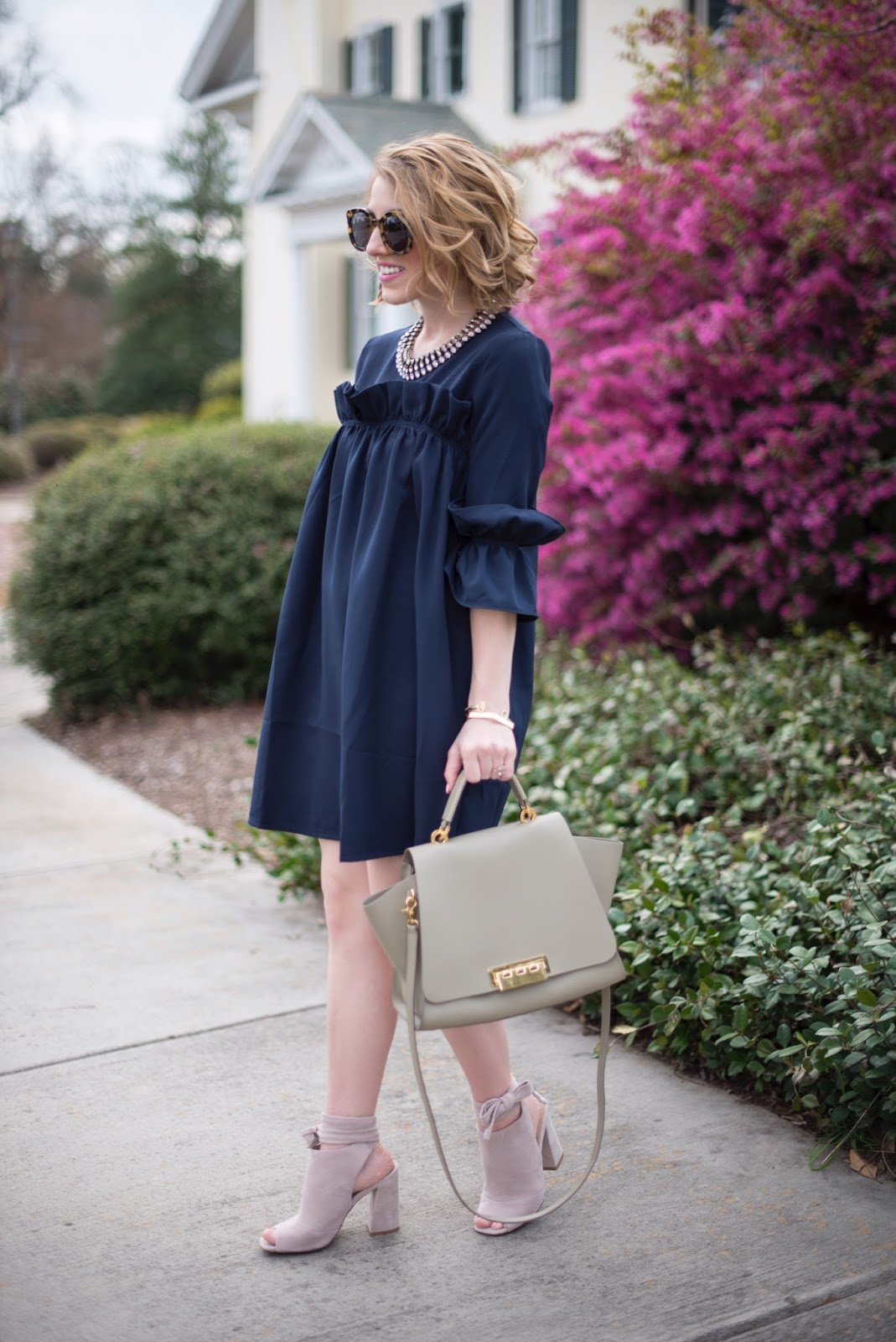 Navy Dress - Something Delightful Blog