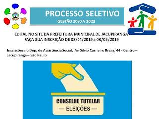 Inscrições abertas para processo seletivo para novos membros do Conselho Tutelar de Jacupiranga