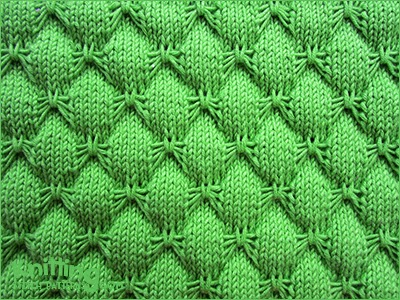 Butterfly stitch is a pretty knitting stitch. The reverse looks interesting too. Knitted in a multiple of 10 + 9 sts and 20-row repeat.