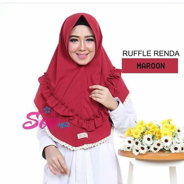 Jilbab Hijab Ruffle Renda Marron Terbaru