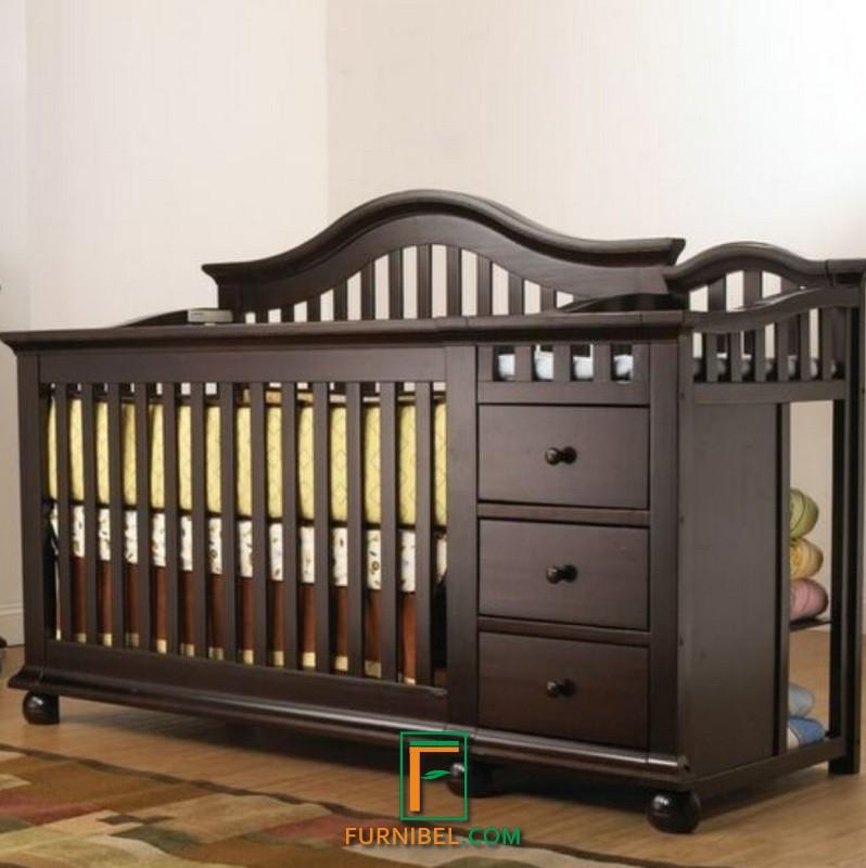 Box Tempat Tidur Bayi Kayu Jati Asli Coklat Natural Hitam