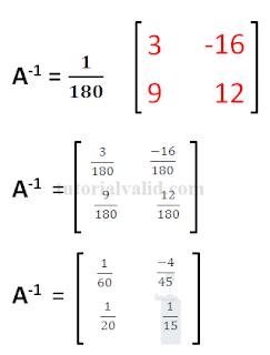 Hasil contoh soal 1 invers matriks 2x2