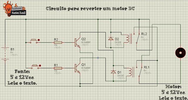 Circuito para Reversão de um Motor DC com Reles Arduino Professor Marlon Nardi