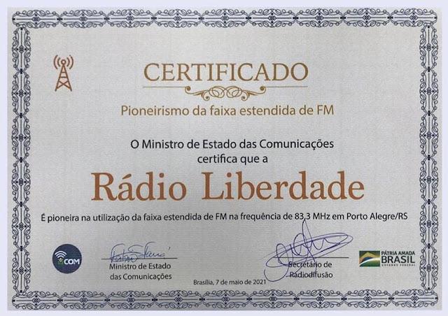 Certificado de Pioneirismo da Faixa Estendida de FM Rádio Liberdade de POA