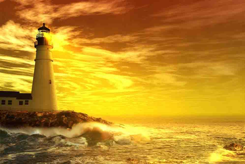 gün batımı manzaralı deniz feneri resimleri