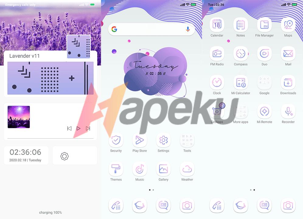Screenshot theme Lavender v11