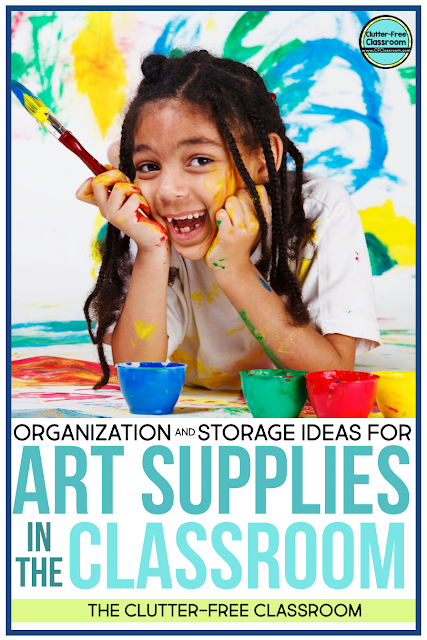 Are you looking for a storage solution for all of your art supplies for your projects, craftivities, indoor recess, and free choice time? I offer tons of free tips on how to organize paints, paintbrushes, crayons, markers, glue sticks, color pencils, construction paper, poster board, colored paper, and more!