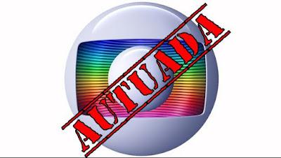 Rede Globo com carimbo Autuada