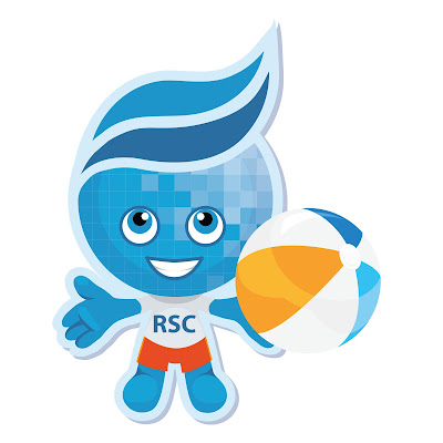 Image of Rio Salado mascot Splash in summer wear, holding a beach ball.
