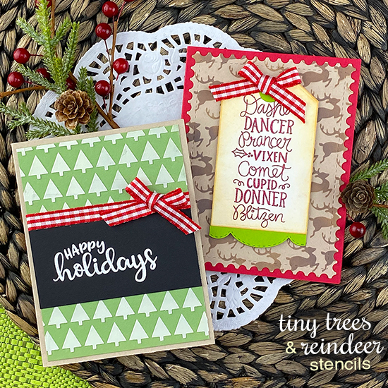 Christmas Cards by Jennifer Jackson | Tiny Trees Stencil, Reindeer Stencil, Reindeer Roll Call Stamp Set, Sentiments of the Season Stamp Set and Fancy Edges Tag Die Set by Newton's Nook Designs #newtonsnook #handmade