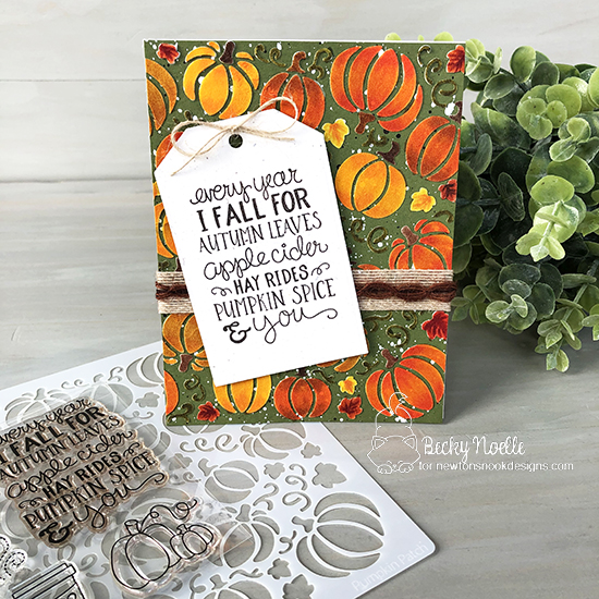 Every year I fall for autumn leaves by Becky features Pumpkin Patch, Fall-ing for You, and Fancy Edges Tag by Newton's Nook Designs; #newtonsnook