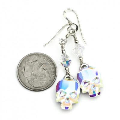 crystal skull earrings jewelry