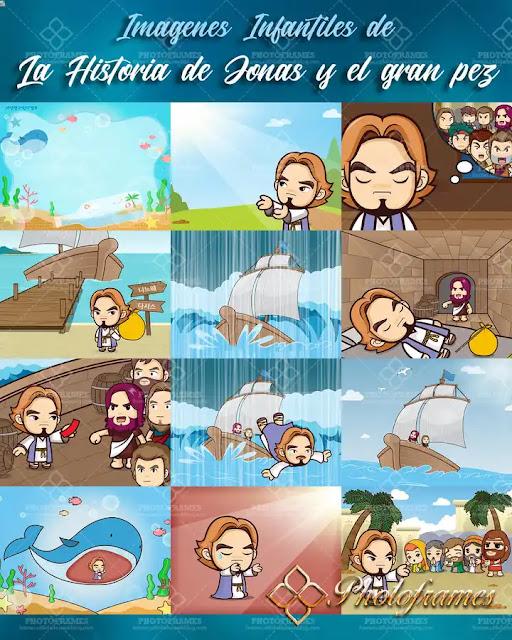 Imágenes infantiles de la historia de Jonás y el gran pez