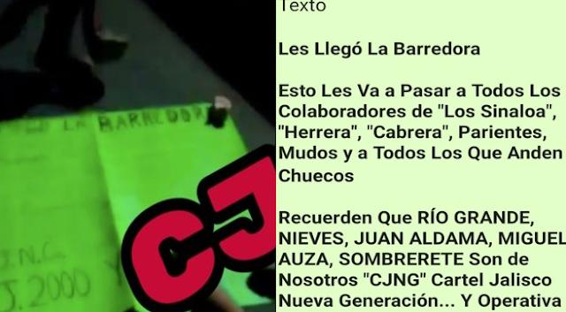 """""""Les llego la Barredora"""" esto les va a pasar a todos los colaboradores de """"Los Sinaloa"""" El CJNG llega a marcar terreno y les deja amenaza al CDS con mujer decapitada"""