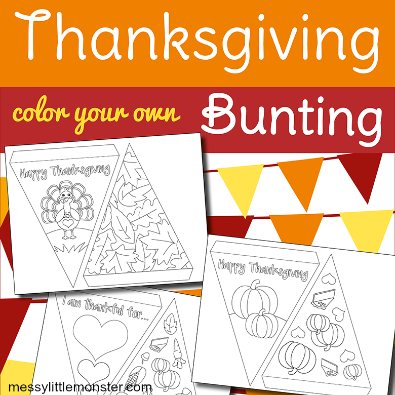 free printable bunting template to make thanksgiving paper bunting.