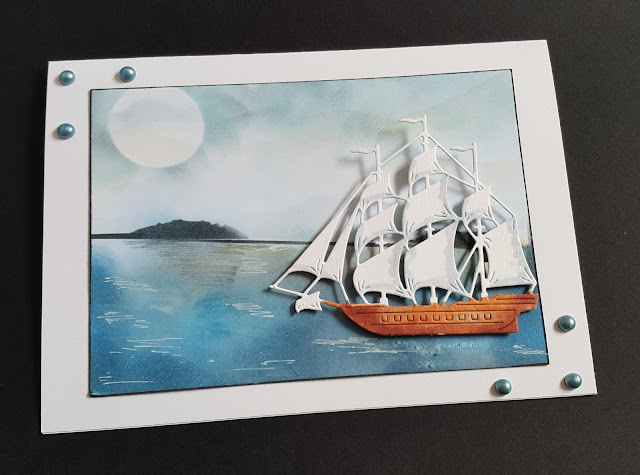 Vintage Galleon on the high seas - 7x5in card