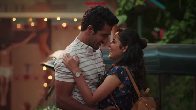 A Still from Love Per Square Foot, Vicky Kaushal, Angira Dhar,  intimate moment
