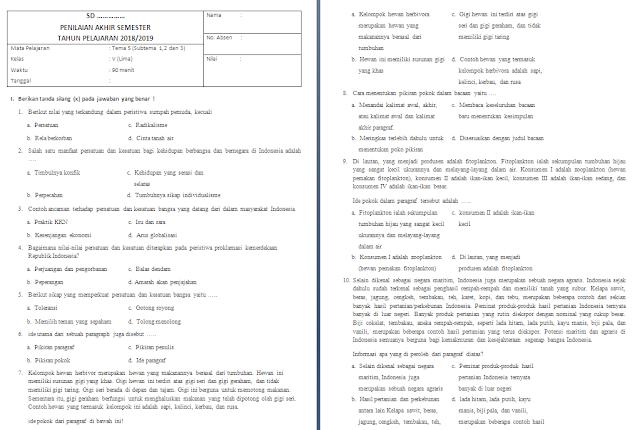 Soal Semester Tema 5 kelas 5 SD/MI