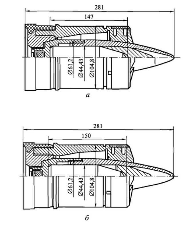 Англійські 105-мм БПС L28A1 (а), L52A1 (б) типу APDS