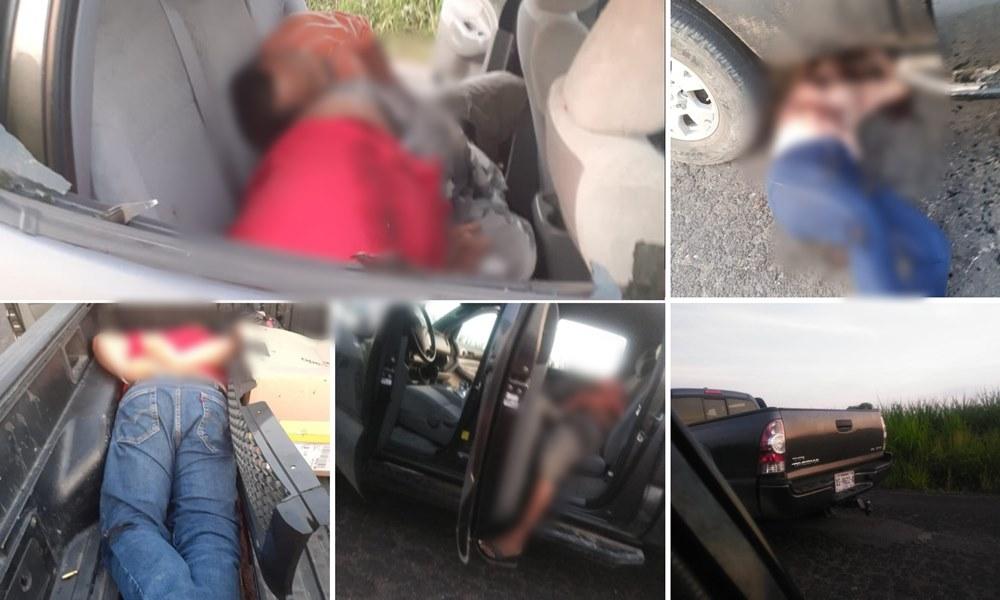 Dejan camioneta con 4 ejecutados, 3 hombres y 1 mujer en Omelaca; Veracruz