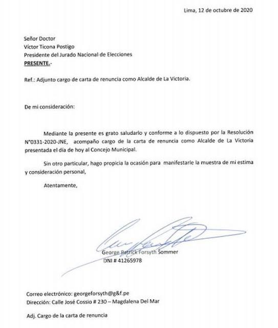 George Forsyth oficializa su renuncia como alcalde de La Victoria
