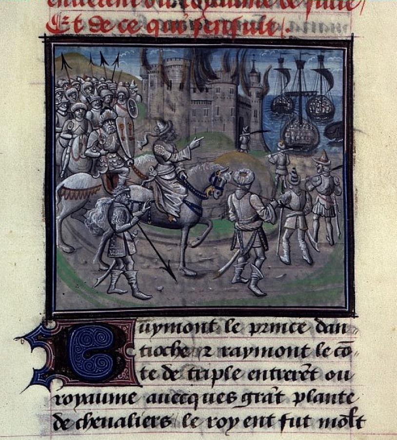 Saladino incendeia uma cidade. Chroniques de Guilhaume de Tyr. BNF, Mss fr 68, folio 359.