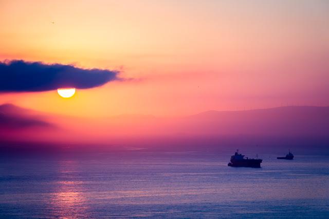 Atardecer en la costa de Ceuta