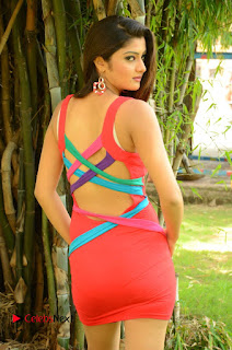 Actress Poojitha  Pictures in Red Short Dress at Bullet Movie Opening  0036.JPG