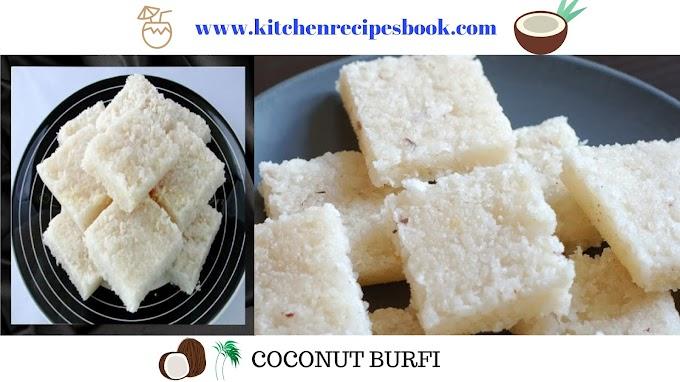 Coconut Burfi Recipe | Homemade Coconut Burfi | Nariyal Barfi Recipe |