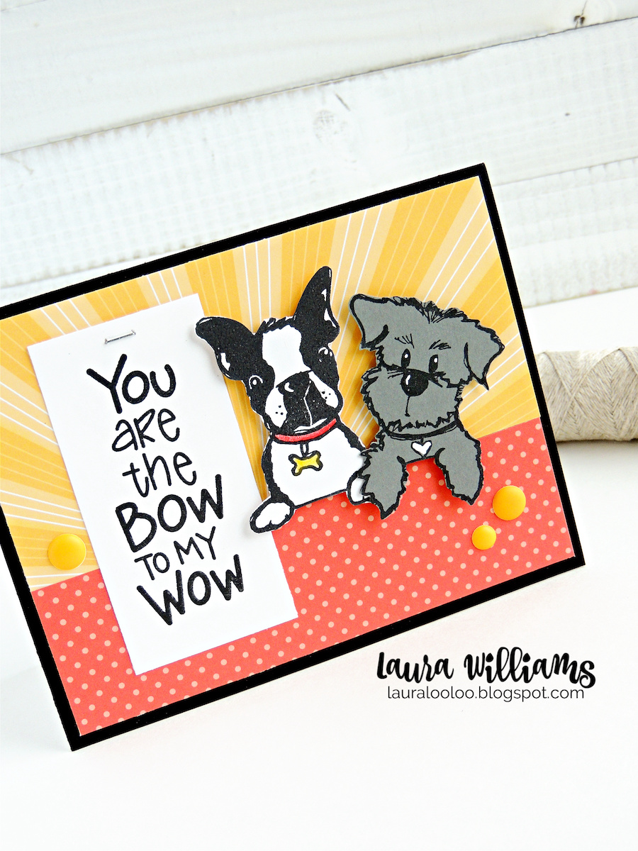 You are the bow to my wow - make a handmade dog card with stamps from Impression Obsession. These adorable dog stamps are perfect for any type of card and paper craft and you'll have fun mixing and matching the furry friends for scrapbooking, and cardmaking! Stop by my blog to see more ideas with these rubber stamps!