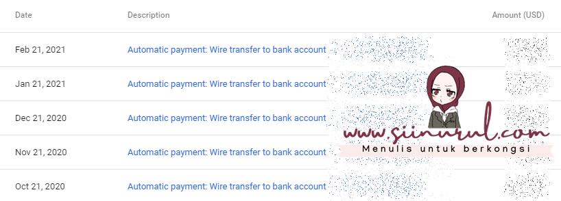 Jana Income Google Adsense Setiap bulan