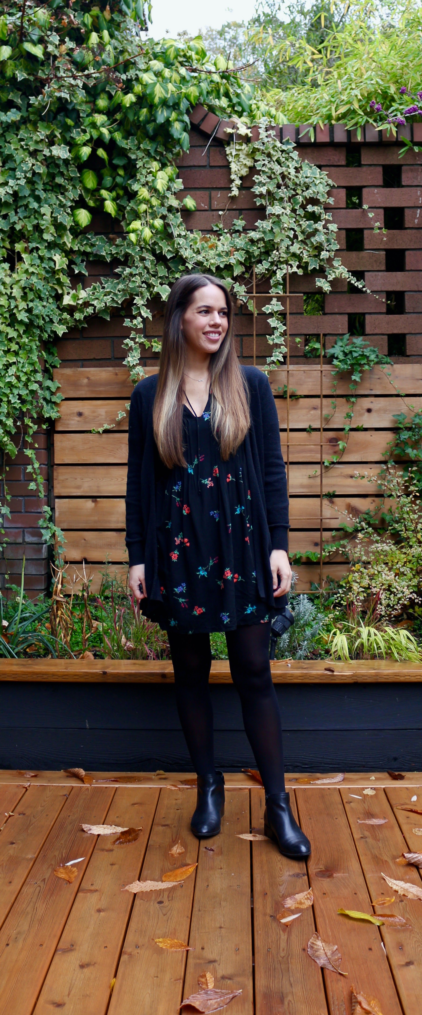 Jules in Flats - Black Floral Swing Dress with Booties (Business Casual Workwear on a Budget)