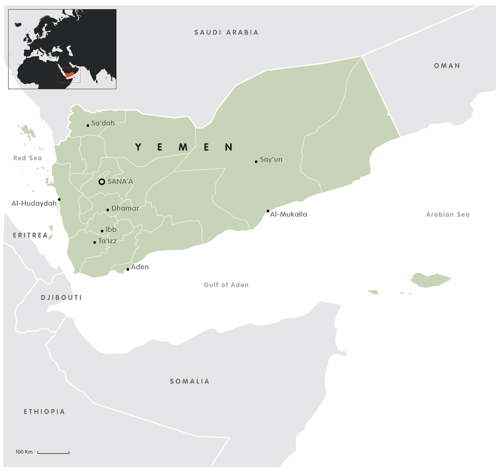 as you can see yemen is located on the heel of the arabian peninsula with borders shared with oman to the east and saudi arabia to the north